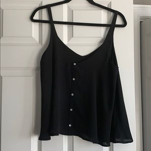 Forever 21 Black Tank Top with Buttons